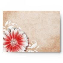 Gerbera Daisy Scroll 1 | red sand Envelopes