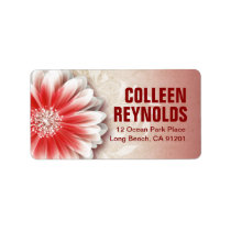 Gerbera Daisy Scroll 1 | red sand Labels
