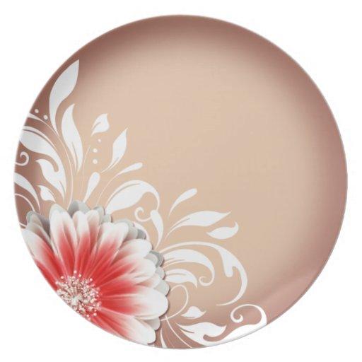 Gerbera Daisy Scroll 1   red sand Plates