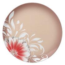 Gerbera Daisy Scroll 1 | red sand Plates