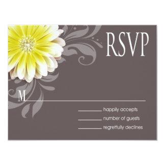 Gerbera Daisy Scroll 1 RSVP yellow chalkboard Card
