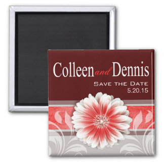 Gerbera Daisy Scroll 1   Save the Date red 2 Inch Square Magnet
