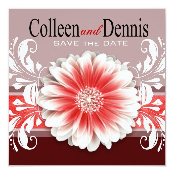 Gerbera Daisy Scroll 1 Save the Date red burgundy Card