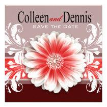 Gerbera Daisy Scroll 1 Save the Date red burgundy Custom Invite