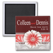 Gerbera Daisy Scroll 1 | Save the Date red Refrigerator Magnet
