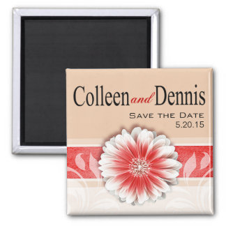 Gerbera Daisy Scroll 1   Save the Date red sand 2 Inch Square Magnet