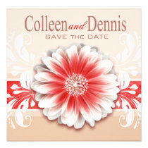 Gerbera Daisy Scroll 1 Save the Date red sand Invites