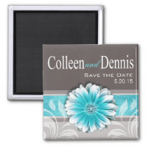 Gerbera Daisy Scroll 1 | Save the Date teal Refrigerator Magnets