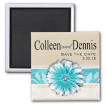 Gerbera Daisy Scroll 1 | Save the Date teal Magnets