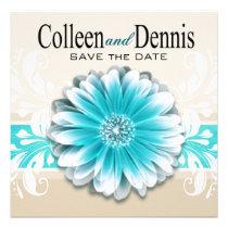 Gerbera Daisy Scroll 1 Save the Date teal oatmeal Custom Announcements