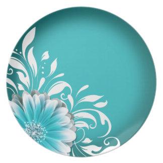 Gerbera Daisy Scroll 1 | teal Dinner Plate
