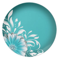 Gerbera Daisy Scroll 1 | teal Dinner Plates