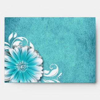 Gerbera Daisy Scroll 1 | teal Envelope