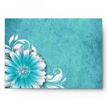 Gerbera Daisy Scroll 1 | teal Envelopes