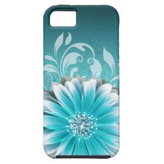Gerbera Daisy Scroll 1 | teal iPhone SE/5/5s Case