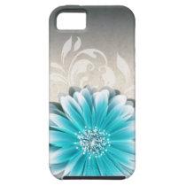 Gerbera Daisy Scroll 1 | teal oatmeal iPhone 5 Cover