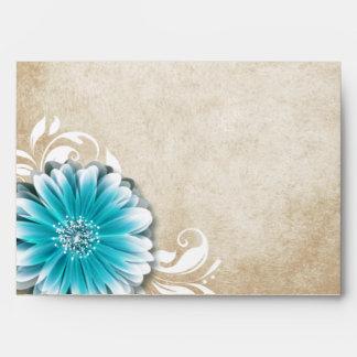 Gerbera Daisy Scroll 1 | teal oatmeal Envelope