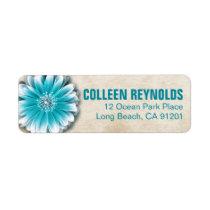 Gerbera Daisy Scroll 1 | teal oatmeal Return Address Labels