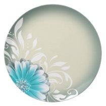 Gerbera Daisy Scroll 1 | teal oatmeal Party Plate