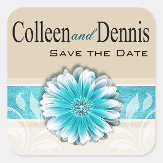 Gerbera Daisy Scroll 1 | teal oatmeal Square Sticker