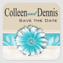 Gerbera Daisy Scroll 1 | teal oatmeal Square Stickers