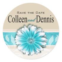 Gerbera Daisy Scroll 1 | teal oatmeal Round Sticker