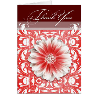 Gerbera Daisy Scroll 1 Thank You red burgundy Card