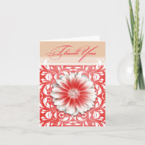 Gerbera Daisy Scroll 1 Thank You red sand Greeting Card