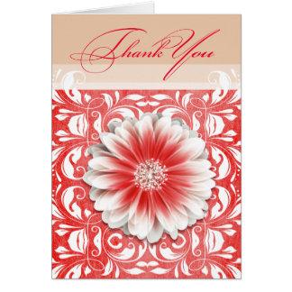 Gerbera Daisy Scroll 1 Thank You red sand Card