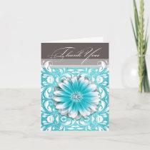 Gerbera Daisy Scroll 1 Thank You teal chalkboard Greeting Cards