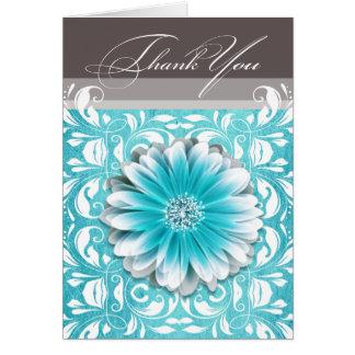 Gerbera Daisy Scroll 1 Thank You teal chalkboard Card