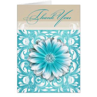 Gerbera Daisy Scroll 1 Thank You teal oatmeal Card