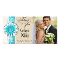 Gerbera Daisy Scroll 1 Thank You teal oatmeal Photo Cards