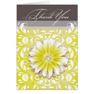 Gerbera Daisy Scroll 1 Thank You yellow chalkboard Card