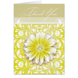 Gerbera Daisy Scroll 1 Thank You yellow taupe Card