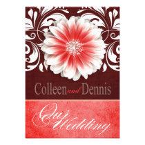 Gerbera Daisy Scroll 1 Wedding red burgundy