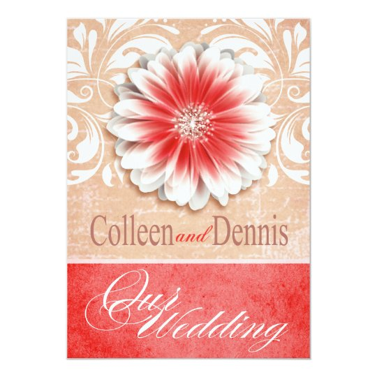 Gerbera Daisy Scroll 1 Wedding red sand Card