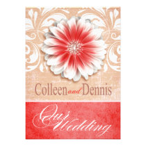 Gerbera Daisy Scroll 1 Wedding red sand Personalized Announcement