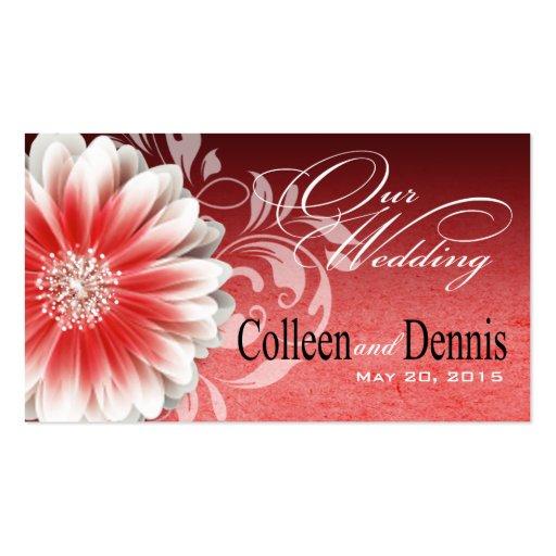Gerbera Daisy Scroll 1 Wedding Website red Business Card Templates