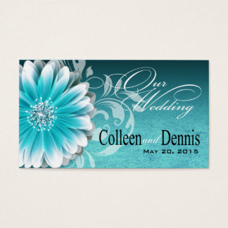 Gerbera Daisy Scroll 1 Wedding Website teal Business Card