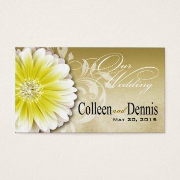 Professional Business Gerbera Daisy Scroll 1 Wedding Website yellow Business Card