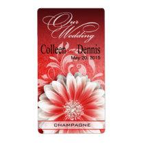 Gerbera Daisy Scroll 1 Wine Label | red