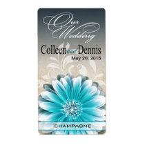 Gerbera Daisy Scroll 1 Wine Label | teal