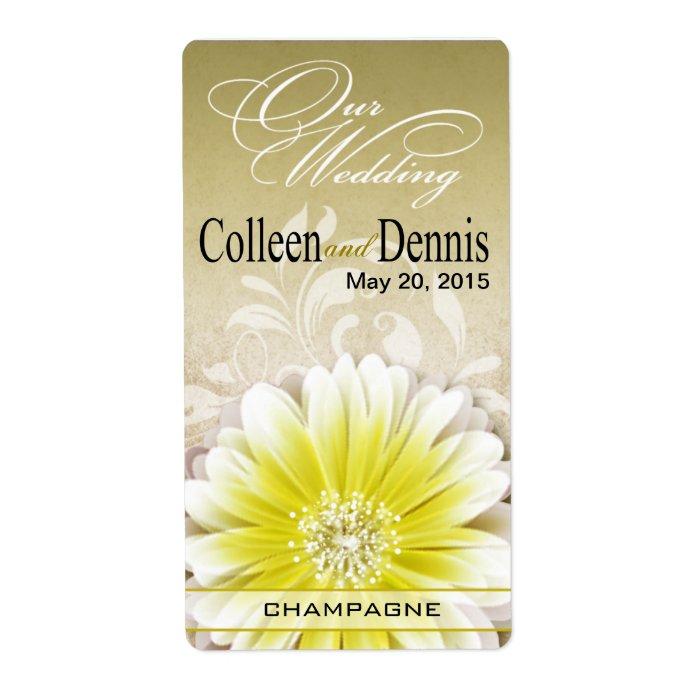 Gerbera Daisy Scroll 1 Wine Label | yellow taupe