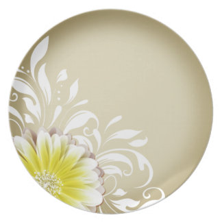 Gerbera Daisy Scroll 1 | yellow taupe Melamine Plate