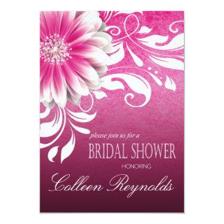 Gerbera Daisy Scroll Bridal Shower fuschia Card