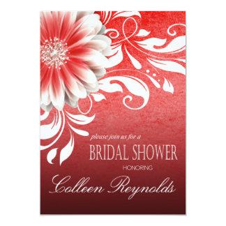 Gerbera Daisy Scroll Bridal Shower red burgundy Card