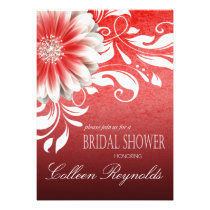 Gerbera Daisy Scroll Bridal Shower red burgundy Personalized Invite