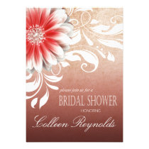 Gerbera Daisy Scroll Bridal Shower red sand Personalized Invites