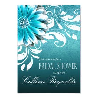 Gerbera Daisy Scroll Bridal Shower teal Card